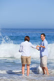 Lovely couple in the sea Stock Image