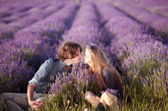Lovely  couple sitting in a lavender field. Stock Image