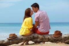 Lovely couple sitting on log. Lovely couple sitting on a log at the beach Stock Image