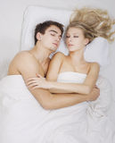 Lovely couple sleeping together Stock Photo