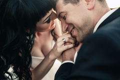Lovely couple spends time in the field Stock Photography