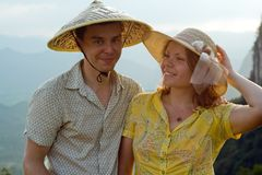 lovely couple at sunset on top of the Chinese mountain of Moon Hill Royalty Free Stock Photo