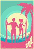 Lovely couple of surfers and blue sea waves on Vector poster bac Stock Photography