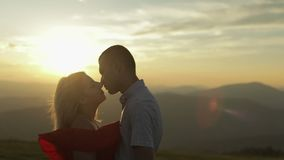 Lovely couple together. Relationship and love. Slow motion stock video footage