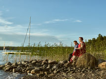Lovely couple together, summer evening Stock Images