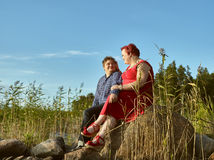 Lovely couple together, summer evening Royalty Free Stock Photos