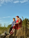 Lovely couple together, summer evening Royalty Free Stock Photography