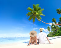 Lovely Couple At Tropical Beach Royalty Free Stock Photo