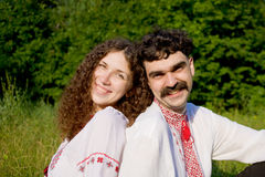 Lovely couple in Ukrainian national costume Stock Images