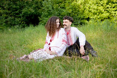 Lovely couple in Ukrainian national costume Royalty Free Stock Image