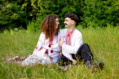 Lovely couple in Ukrainian national costume Royalty Free Stock Photo