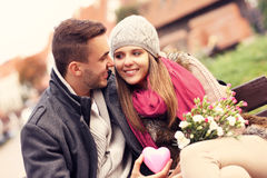 Lovely couple on Valentine's Day in the park Stock Image