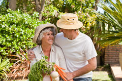 Lovely couple with vegetables Stock Images
