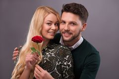 Lovely couple waiting St. Valentine Day Royalty Free Stock Images