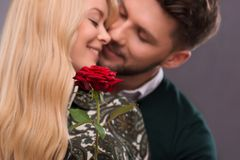 Lovely couple waiting St. Valentine Day Royalty Free Stock Photo