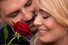 Lovely couple waiting St. Valentine Day Stock Photography