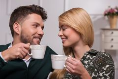 Lovely couple waiting St. Valentine Day Royalty Free Stock Image