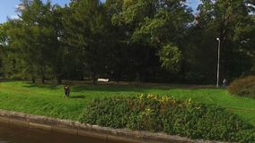 Lovely couple walking in park. Shot stock video footage