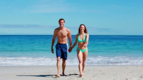 Lovely couple walking together stock footage