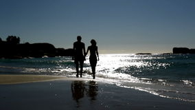 Lovely couple walking under the moonlight. On the beach stock footage