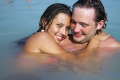 Lovely couple in water Royalty Free Stock Photo