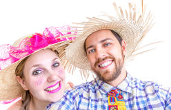 Lovely Couple wearing Caipira clothes for the Brazilian Festa Junina Royalty Free Stock Image