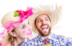 Lovely Couple wearing Caipira clothes for the Brazilian Festa Junina Royalty Free Stock Photos