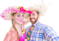 Lovely Couple wearing Caipira clothes for the Brazilian Festa Junina Stock Photos