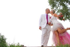 Lovely couple wedding kiss Stock Images