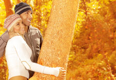 Lovely couple in the wood Stock Photo