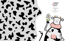 Lovely cow and a flower Royalty Free Stock Image