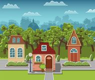 Lovely cozy houses in a fairy-tale town. Royalty Free Stock Images