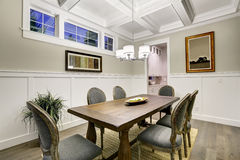 Lovely craftsman style dining room with coffered cealing Royalty Free Stock Photo