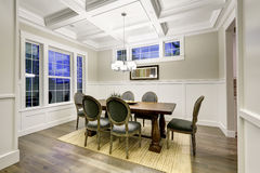 Lovely craftsman style dining room with coffered cealing Stock Image