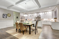 Lovely craftsman style dining space with coffered cealing royalty free stock photos