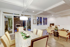 Lovely craftsman style dining space with coffered cealing Stock Photo
