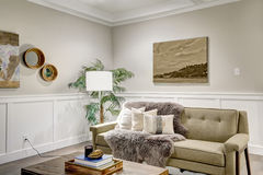 Lovely craftsman style living room with coffered cealing Stock Photos