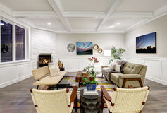 Lovely craftsman style living room with coffered cealing Royalty Free Stock Photos