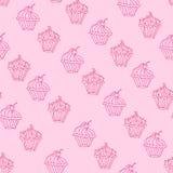 Lovely cupcake dessert seamless background vector design Stock Photo