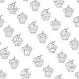 Lovely cupcake dessert seamless background vector design Royalty Free Stock Photos