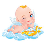 Lovely Cupid with bow Stock Images