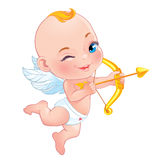 Lovely Cupid with bow Stock Photo