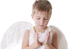 Lovely cupid holds heart carefully Stock Photos