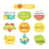 Lovely cute bright summer colorful vector set. Stock Photos