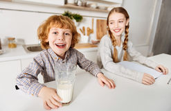Lovely cute children looking enthusiastic stock photo