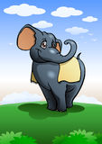 Lovely cute elephant cartoon on nature background Royalty Free Stock Images