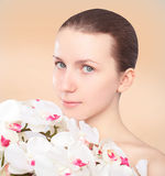 Lovely cute girl  with flowers Royalty Free Stock Images