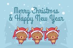 Lovely cute kawaii chibi. a group of deer sing a song under a snowfall. Merry christmas and a happy new year. greeting card royalty free illustration