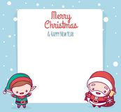 Lovely cute kawaii chibi. Santa Claus and the elf in front of a paper overlay. Merry christmas and a happy new year. greeting card Stock Photo