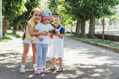Lovely cute kids playing in the park. A beautiful summer sunny day Royalty Free Stock Images